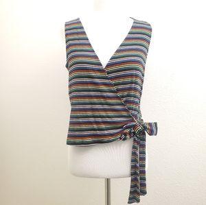 Lush Multi-Colored Stripe Wrap Front Top T32